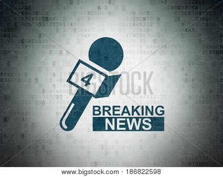 News concept: Painted blue Breaking News And Microphone icon on Digital Data Paper background