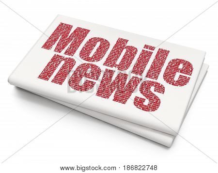 News concept: Pixelated red text Mobile News on Blank Newspaper background, 3D rendering
