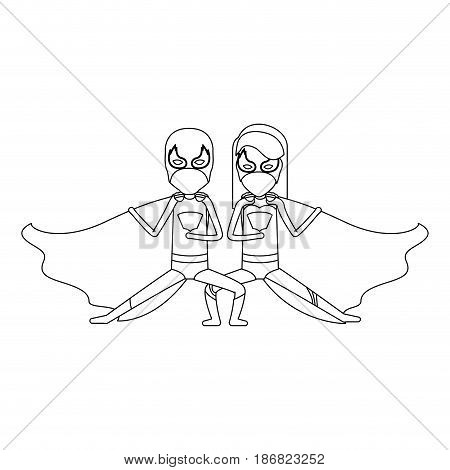 monochrome contour faceless of duo of superheroes in defensive pose and her with straight long hair vector illustration
