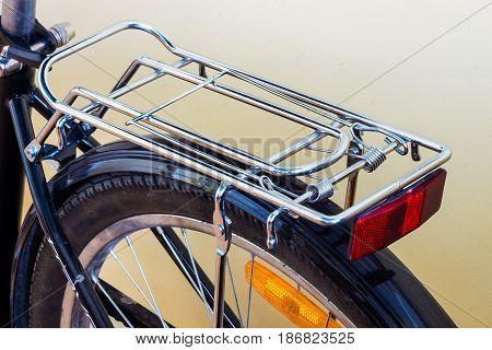 bicycle bike back with metal luggage rack reflectors and wheel