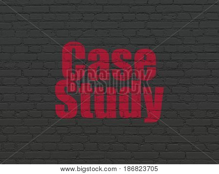 Studying concept: Painted red text Case Study on Black Brick wall background