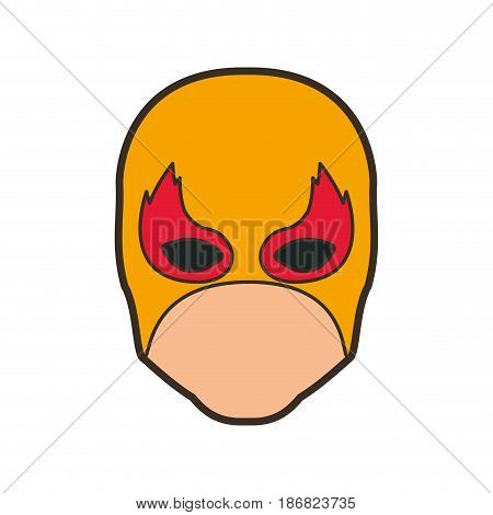 colorful silhouette with faceless man superhero and middle mask and shape of flame around the eyes and thick contour vector illustration