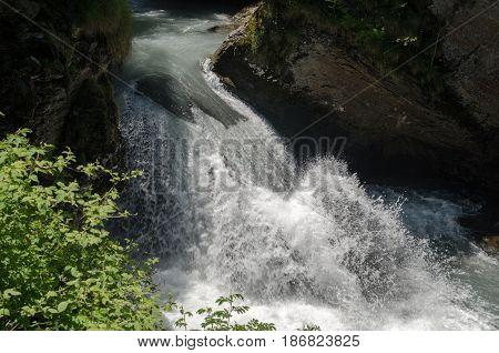 Beautiful Reichenbach Falls (reichenbachfall) At Swiss Alps, Switzerland
