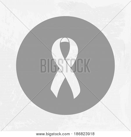 White Awareness ribbon. Dating Violence, Emphysema, Blindness, Invisible Illness, Gay-Teen Suicide. Isolated icon. Watercolor painted background