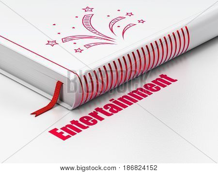 Entertainment, concept: closed book with Red Fireworks icon and text Entertainment on floor, white background, 3D rendering