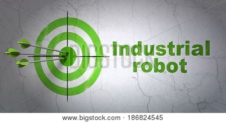 Success Industry concept: arrows hitting the center of target, Green Industrial Robot on wall background, 3D rendering