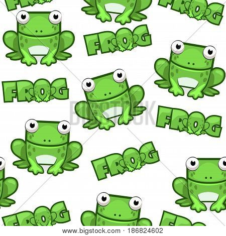Seamless pattern Cute cartoon square green frog on white background. Set vector animals
