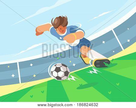 Soccer player running with ball on green field of stadium. Vector illustration