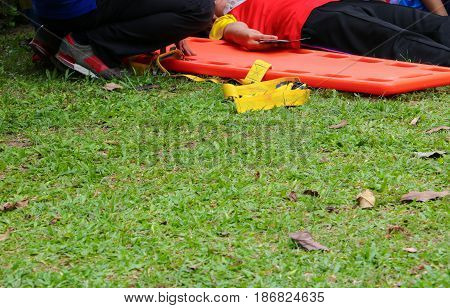 stretcher select focus. rescue emergency medical service a help patient in a rescue situation