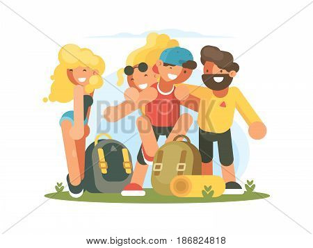 Group of cheerful friends guys and girls on vacation. Vector illustration