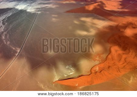 Aerial view on the beautiful landscape of the Namib desert Sossusvlei Namib Naukluft National Park Namibia
