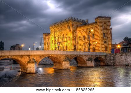 City hall, Vijecnica, in Sarajevo by night, Bosnia and Herzegovina, HDR