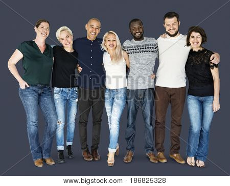 Happiness group of people huddle and smiling together