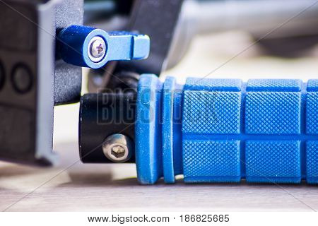 Steadicam - a device to stabilize the camcorder. Isolated on white background.