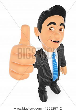 3d business people illustration. Businessman with thumb up. Isolated white background.