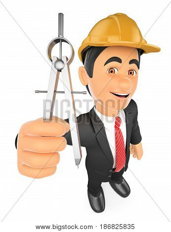 3d working people illustration. Architect with a compass. Isolated white background.