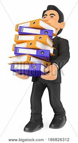 3d business people illustration. Businessman loaded with many filing cabinets. Work overload. Isolated white background.