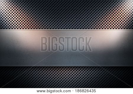 Abstract modern blue colored perforated metal plate with polished metal plate banner place for text in center and two yellow spotlights on the sides material design for background graphic design