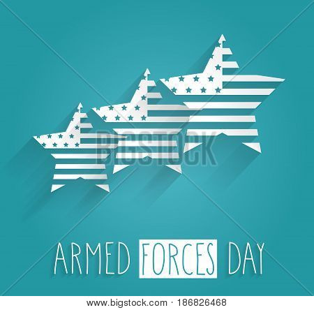 Armed Forces Day on blue background with striped star and handwritten text. Vector illustration.