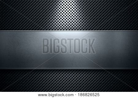 Abstract modern colored perforated metal plate with polished metal plate banner and blue light place for text in center material design for background graphic design
