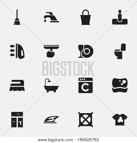 Set Of 16 Editable Hygiene Icons. Includes Symbols Such As Pail, Plate, Appliance And More. Can Be Used For Web, Mobile, UI And Infographic Design.