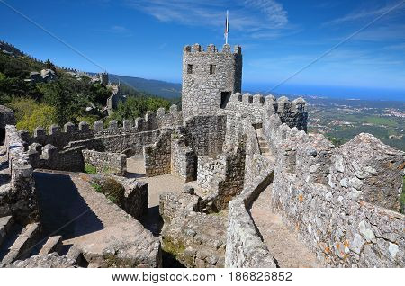 The Moorish castle in the municipality of Sintra Portugal