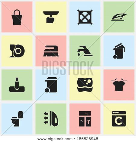 Set Of 16 Editable Cleanup Icons. Includes Symbols Such As Steam, Brush, Faucet And More. Can Be Used For Web, Mobile, UI And Infographic Design.