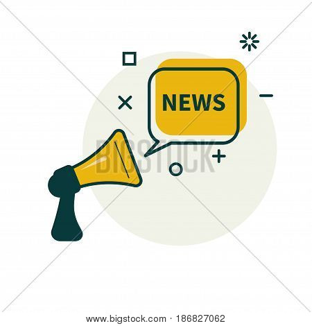 Megaphone and bubble that says news. Vector illustration.