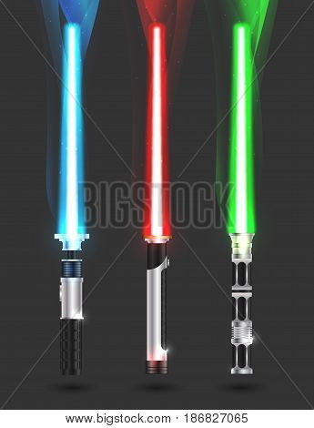 colorful illustration with futuristic sabers vector set