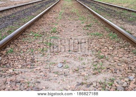 Two Lines Of Vintage Railway Tracks, Go Into The Distance. Horizontal Frame