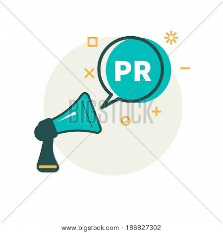 Megaphone and bubble that says PR. Vector illustration.