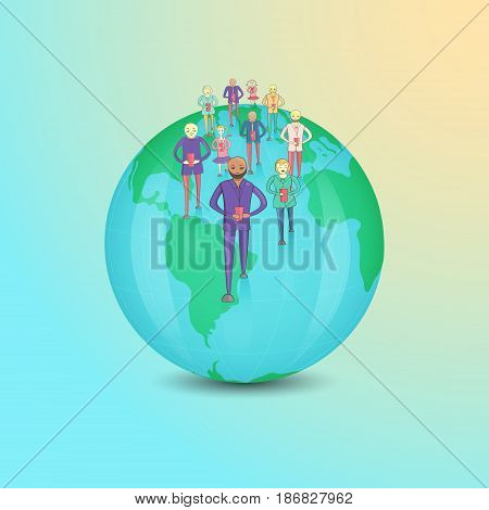 Multicultural People with Smartphones Walking on the Globe as a Concept of Mobile Technology Wide Spreading. Vector EPS10