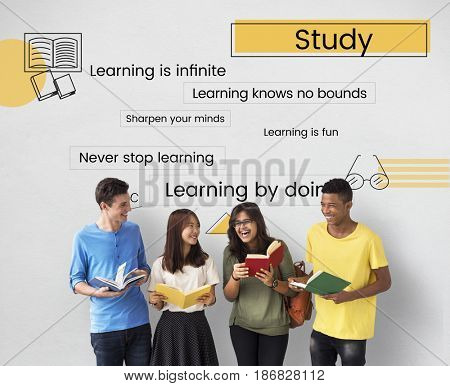 Group of students reading book for knowledge