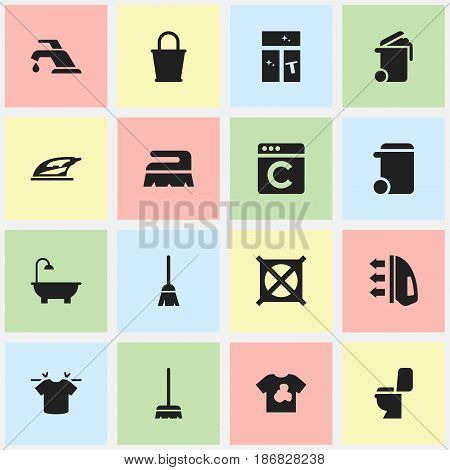 Set Of 16 Editable Cleaning Icons. Includes Symbols Such As Dustbin, Clean T-Shirt, Container And More. Can Be Used For Web, Mobile, UI And Infographic Design.