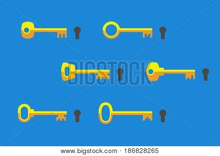 Keys of different shapes and keyholes near. Special key for special access