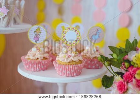 cakes with toppers close up for birthday party