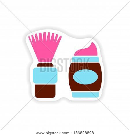 stylish paper sticker on white background shaving foam