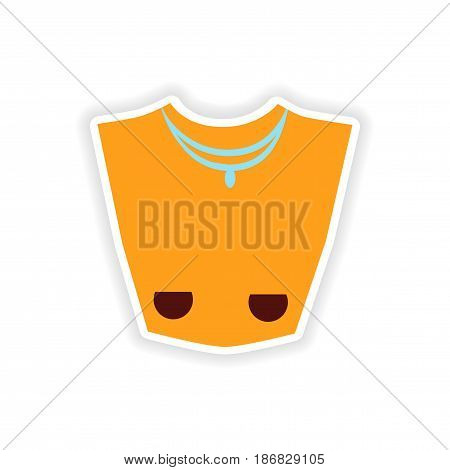 stylish paper sticker on white background necklace