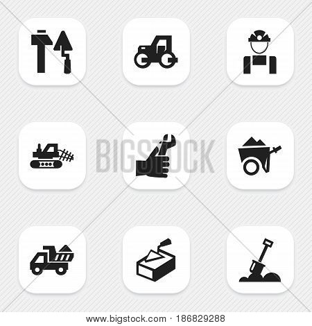 Set Of 9 Editable Structure Icons. Includes Symbols Such As Mule, Handcart , Spatula. Can Be Used For Web, Mobile, UI And Infographic Design.