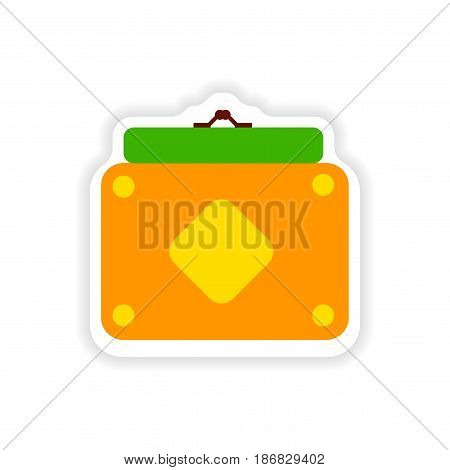 stylish paper sticker on white background ladies handbag