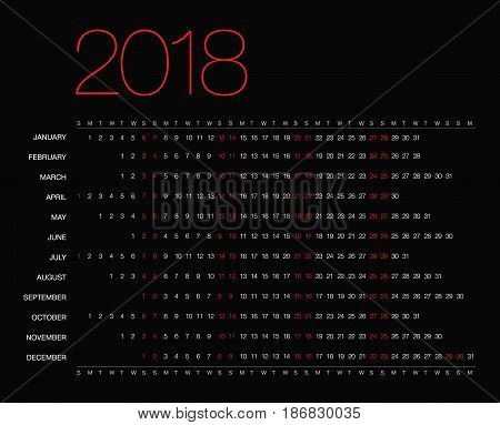 Template with a calendar for 2018 for design. Calendar 2018 year simple style