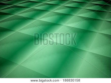Dimensional abstract green geometric polygon backdrop. 3D rendering.
