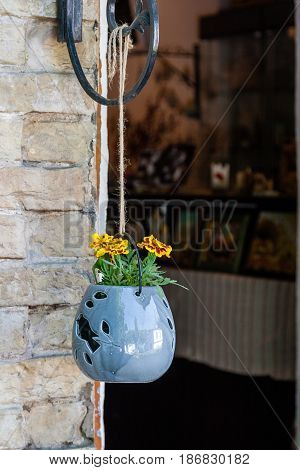 Pendant Pots With Flowers And Greens