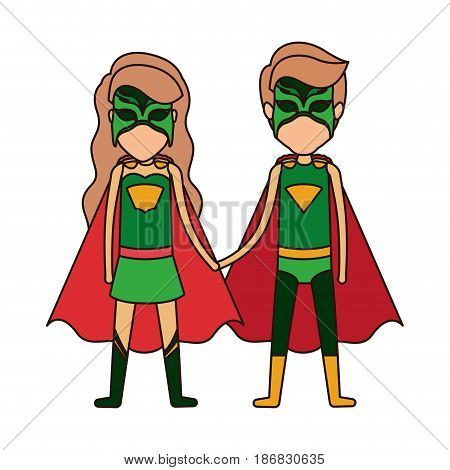 colorful silhouette with faceless duo of superheroes united of the hands and her with long wavy hair and closed eyes vector illustration