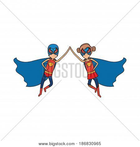 colorful silhouette with faceless duo of superheroes flying united of the hands and her with collected hair and closed eyes vector illustration