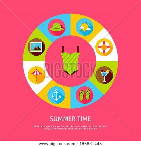 Summer Time Concept. Vector Illustration of Sea Holiday Infographics Circle with Icons.