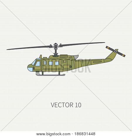 Line flat color vector icon military turboprop transportation helicopter. Army equipment and armament. Retro copter. Cartoon. Assault. Soldiers. War. Illustration and element for design, wallpaper.