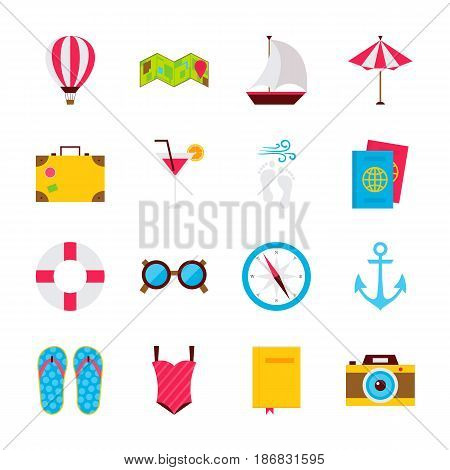 Summer Time Objects. Vector Illustration. Travel Holiday Collection of Items Isolated over White.