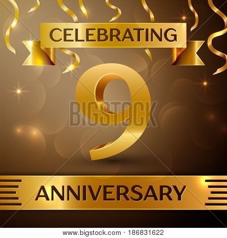 Nine Years Anniversary Celebration Design. Confetti and gold ribbon on golden background. Colorful Vector template elements for your birthday party. Anniversary ribbon