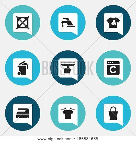Set Of 9 Editable Dry-Cleaning Icons. Includes Symbols Such As Unclean Blouse, Container, Pail And More. Can Be Used For Web, Mobile, UI And Infographic Design.